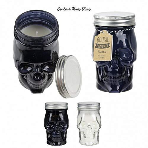 c.m.p Kerze Mason JAR Totenkopf Parfüm Moschus weiß 13 x 7 cm Geschenk Dekoration (Mason Farbe Jars)