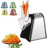 Elektrischer Gemüsehobel | Elektrische Reibe | Küchenmaschine | Elektrische Küchenreibe | Multifunktionsreibe | Gemüse Raspel | 200 Watt | Trommeln aus Edelstahl | 4 Aufsätze |