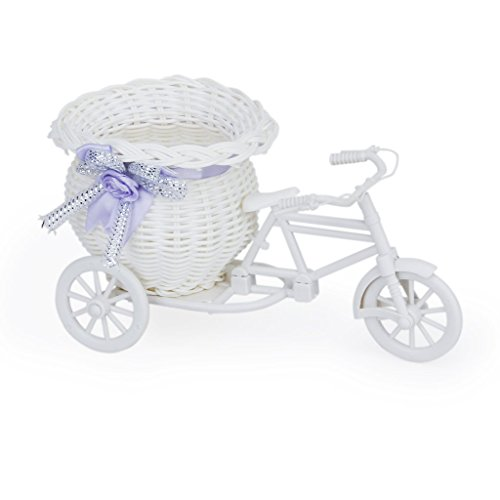 SODIAL(R) Handmade Rattan Blumen Dreirad Fahrradkorb Koerbe fuer Blumenvase Lagerung Dekoration (weiss Lila)