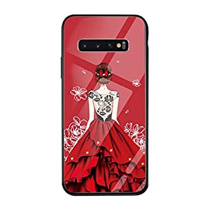 Oihxse Compatible for Samsung Galaxy J7 Prime Case for Girls Hard Tempered Glass Back Cover, [Anti-Yellow] [Support Wireless Charging] Slim Fashion Pattern Skin Shell Shockproof TPU Bumper-Black+Red   9