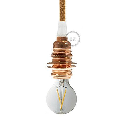 Douille en métal cuivre, culot ampoule E14, 2 bagues