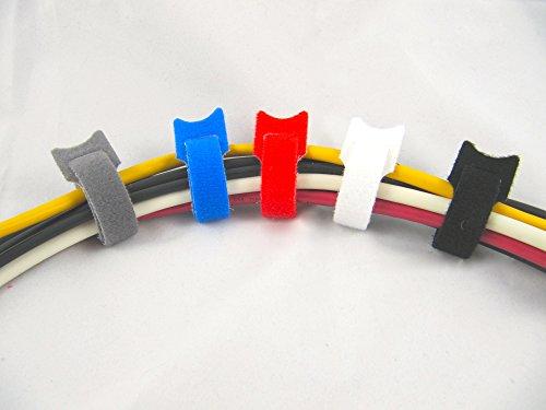 Preisvergleich Produktbild Blau Klett-Kabelbinder,  100 Stück,  Gurten,  Bändern,  wiederverwendbar