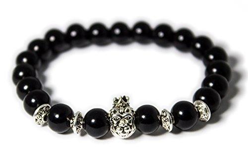 Perlenarmband mit Löwenkopf für Männer oder Frauen - Modeschmuck (Schwarz - Silbern)