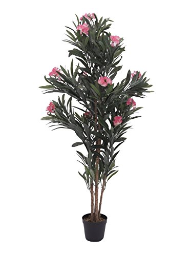 artplants Set 2 x künstlicher Oleander MINOU, rosa, 150 cm – Kunstbaum/Oleanderbusch