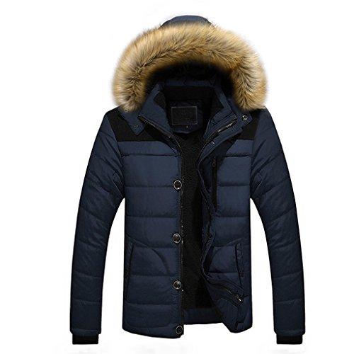 Vovotrade® Herren Winterjacke Jacke Pieder Herren Parka Lange Winterjacke Herren Übergangsjacke Jacke Plus Pelz mit Faux Kapuze Mantel Jacke (Blau, Size:M) -