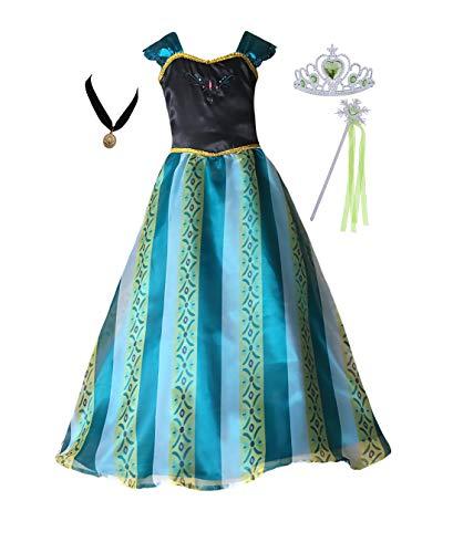 Cokos Box Mädchen Krönungskleid Prinzessin Kostüm Halskette Tiara Zauberstab Set (5T-6X - Amazon Green)