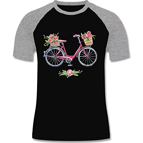 Vintage - Vintage Fahrrad Wasserfarbe Blumen - zweifarbiges Baseballshirt für Männer Schwarz/Grau Meliert