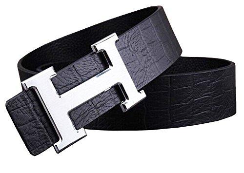 OKOKO Uomo moda H fibbia pelle Cinture 3.8cm(H3) (115cm(up to 39