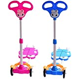 SRR-Kids Four Wheels Scooter,Scooty With Brake, Adjustable Height, Strong Metal Frame Color Pink & Color Blue(2 Pcs)