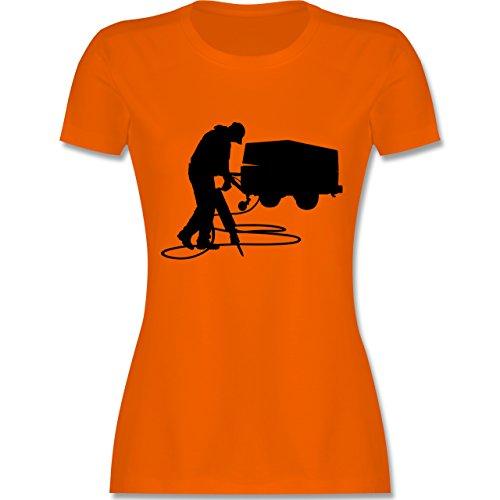 Handwerk - Bauarbeiter - tailliertes Premium T-Shirt mit Rundhalsausschnitt für Damen Orange
