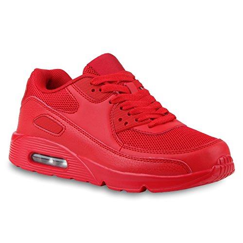 Stiefelparadies Damen Schuhe Sportschuhe Laufschuhe Profilsohle Neon Schnürer 124607 Rot Carlton 37 Flandell