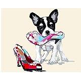 XIGZI Pintura al óleo de Rana Patinadora Imagen por números Módulo Imagen para Colorear a Mano Decoración del hogar Chihuahua con su Zapato 40X50 CM,Sin Marco,A