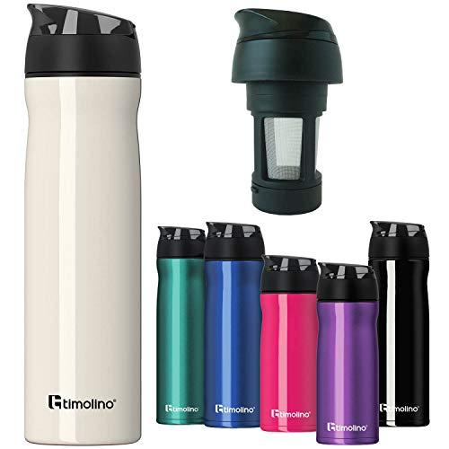 Doppelwandige Vakuum Thermosflasche aus Edelstahl - Isoflasche Isokanne mit Teesieb & Deckelfach - 600ml; Lila