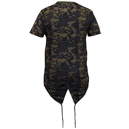 Herren Lange Linie Top Mit Kapuze Tarnmuster Militär Fischschwanz T-shirts Von Soul Star Khaki - BENGALPKB