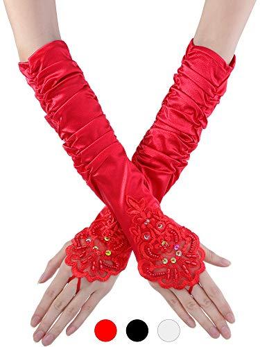 TecUnite 3 Paar Damen Fingerlose Spitze Handschuhe Pailletten Satin Handschuhe Lange Handschuhe über Ellenbogen Glänzende Satin Braut Opera Handschuhe, 14 Zoll für Damen und Mädchen