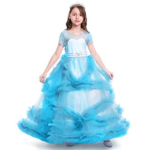 OBEEII Mädchen Spitze Tüll Gestickte Prinzessin Prom Ballkleid Formale Partei Lang Schwanz Kleider 4-5 Jahre Blau