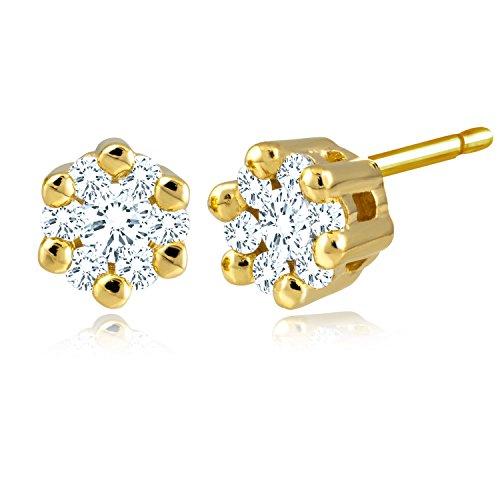 Diamond Line Diamant-Ohrstecker Gelbgold 585 mit 14 Brillianten 0.25 ct. Lupenrein