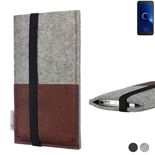 flat.design Handy Hülle Sintra für Alcatel 1C Single SIM Handytasche Filz Tasche Schutz Kartenfach Case braun Kork