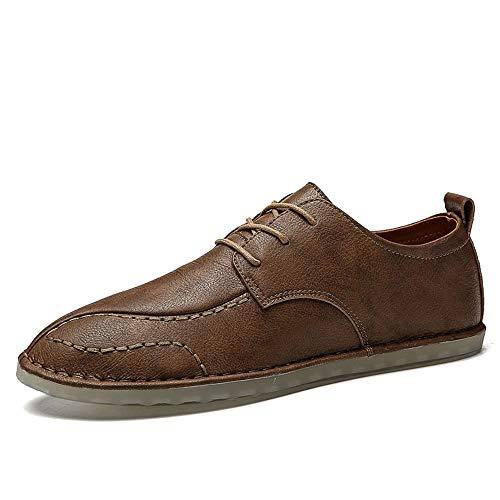 Jingkeke Leichte Oxford-Schnürschuhe for Herren for Männer zu Fuß Lässige Loafer-Schuhe Aus Echtem Leder Asymmetrisch Vamp Handgenäht Ins Auge fallend Mode (Farbe : Khaki, Größe : 41 EU) -