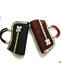 Party Clutch For Ladies Girls Set Of 2 Black And Red With Handle For Any Event Function Party Trendy Clutch Purse