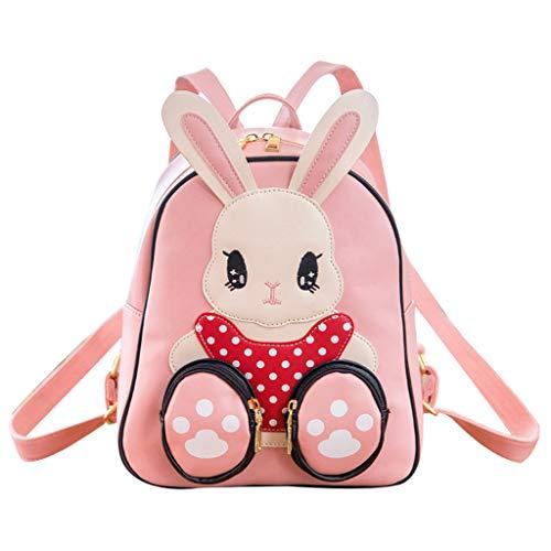 KunmniZ 3D Kaninchen PU Leder Cartoon Schultasche Kinder Rucksack Rucksack Vorschulkinder Kleinkind -