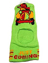 Nprc Baby Woollen Monkey/Skull Cap Light Green Color With Printed (1-3 Years)