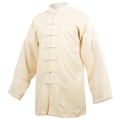 wu designs Baumwolle (Leicht) Tai Chi Oberteil Stehkragen - Taiji Shirt - Tai Chi Anzug - Kung Fu - Wushu - Beige - 165