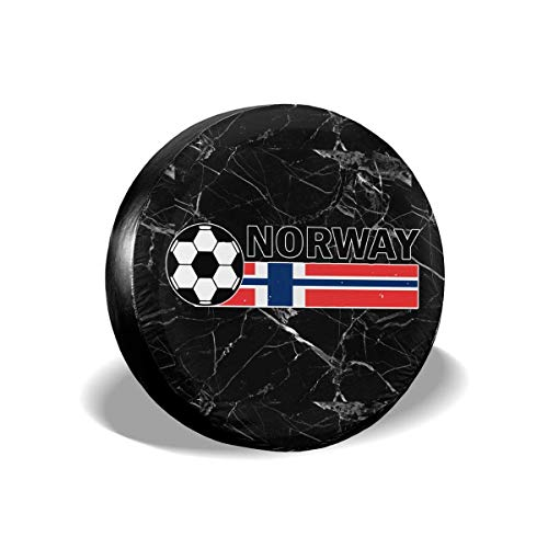 Vbnbvn Reserveradabdeckung, Spare Tire Cover Norway Flag Soccer Football Tire Covers Car SUV Trailer Truck Spare Tire Tyre Cover