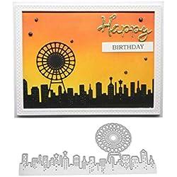 Découpes en Métal de Grande Roue City Scrapbooking DIY Cartes de Papier Photo Craft - Argent