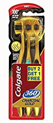 Colgate Toothbrush-360 Degree Charcoal Gold-Soft Bristles (Saver Pack)