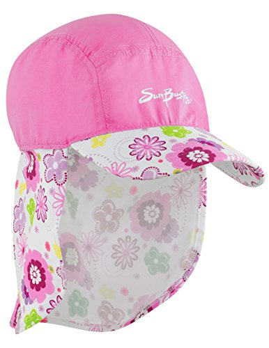 Girls Sun Busters UV Legionnaire Hat 2-12 Years UPF50+ Sun Protection (Poppyberry or Mallowberry)