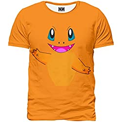 CHARMANDER Pokémon - T-Shirt Man Uomo - Charmander Pokemon Go Plus Rosso Blu Giallo, T-Shirt, Ash Nintendo Game Boy 3DS Pikachu Pixel