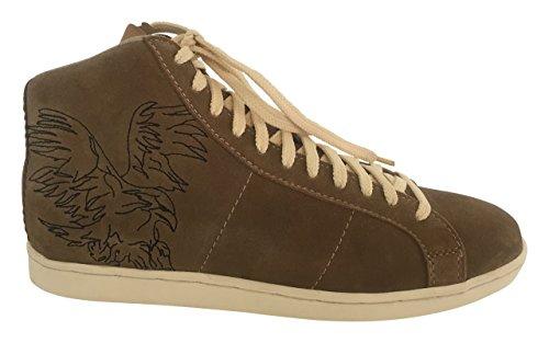 Sneaker Chucks Schuhe Herren Echt Leder Hochwertiges Wildleder Braun/Beige (42)