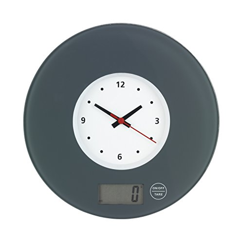 Wenko 53310100 Küchenwaage Time mit Uhr Grau - elektronische Digitalwaage mit Sensor-Tastatur und Tara-Funktion, Gehärtetes Glas, 19 x 2,5 x 19 cm