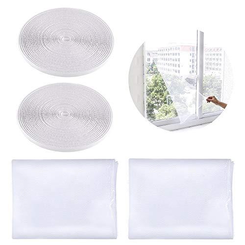 SITAKE 2 Stück Insektenschutz Fliegengitter mit 2 Selbstklebendem Klettband - Insektengitter Fenster - Fliegengitter-Netze - Fliegengitter für Fenster (1,5m x 2m, Weiß)