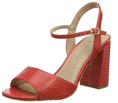 New Look Wide Foot Timothy, Scarpe col Tacco Punta Aperta Donna, Rosso (Bright Red 60), 39 EU
