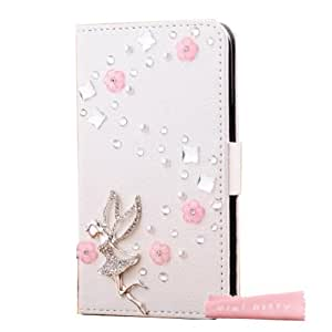 Mini kitty- High quality luxury lovely elegant romantic 3D Bling tinkerbell girl pink flower Crystal Rhinestone PU Leather Flip Wallet Case Cover for iPhone4 ,for iphone 4S ,as a good gift
