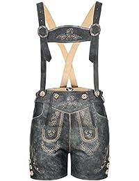 %%% OSTERANGEBOT !!! Hochwertige Damenlederhose aus Nappaleder orig. von BOHMBERG mit aufwendiger Stickerei Traditionell in rustikalem Antik mit Hosenträger