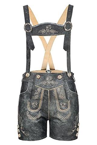 Wertige Damenlederhose kurz von BOHMBERG mit aufwendiger Stickerei Traditionell in rustikalem Antik mit Hosenträger Gr.42