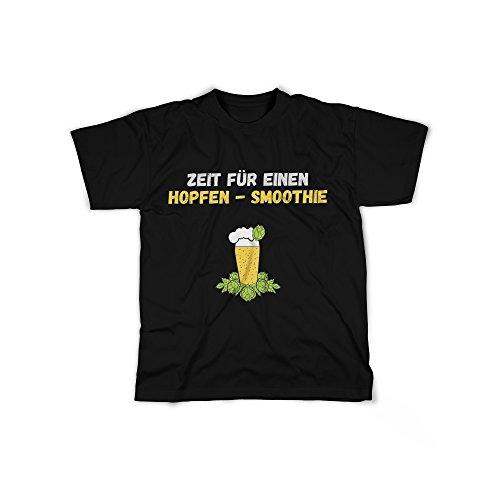 licaso Herren T-Shirt mit Zeit für einen Hopfen-Smoothie Aufdruck in Black Gr. XL Bier Fass Weißbier Helles Design Top Shirt Herren Basic 100% Baumwolle Kurzarm -