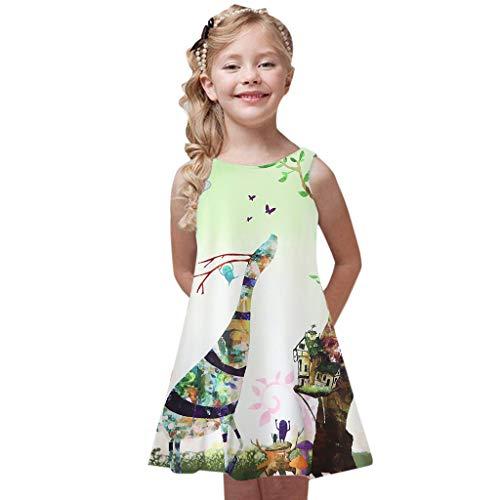 Innerternet Kleinkind Mädchen Sommer Prinzessin Kleid Kinder Baby Printing Party ärmellose Kleid Kinder ärmellose Blumen Patchwork Kleid passende Familie Kleidung A-Linien Freizeit Midi Kleider (Blumen-mädchen-kleider Elfenbein Gold)