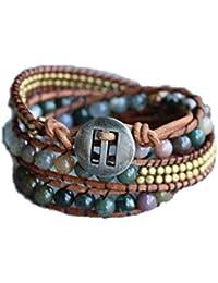 Unikooo Bracelet Wrap Energie Lumineuse avec Perles en Agate Indienne pour Femme - Bijou à Pierre d'Energie, Élimine Les Énergies Négatives et Apporte la Sécurité