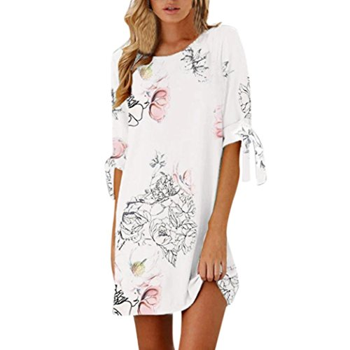SMILEQ Women Casual Dress Summer Half Sleeve Bow Bandage T Shirt Sundress Floral Striaght Short Mini Skirt