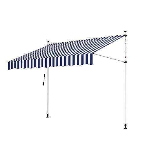 wolketon Gelenkarmmarkise 1.2 * 2m UV-beständig Einziehbar Klemmmarkise mit Handkurbel Höhenverstellbar