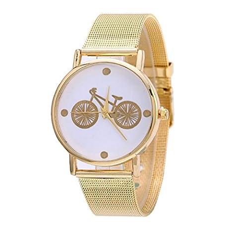 Tongshi Neue Mode Frauen Design Fahrrad Muster Gold Uhren Dial