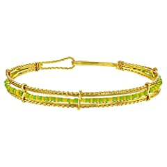 Idea Regalo - Placcato oro 14 K Orula Babalawo Santeria verde giallo perline braccialetto bangle