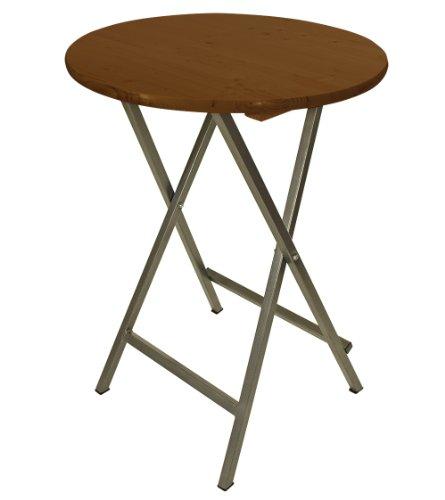 DEGAMO Stehtisch Bern 78cm rund, Stahlgestell + Holzplatte, braun lackiert