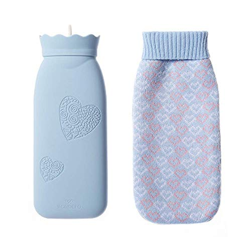 Wärmflasche für Mikrowelle, mit Bezug aus Strick, Wärmflasche, warmes Wasser, aus weichem Silikon, Blau, 500 ml