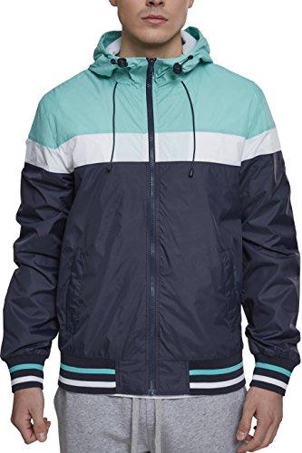Urban Classics Herren College Windrunner Jacke, Mehrfarbig (Navy/Mint/White 01384), Large (Herstellergröße: L) Navy Sport Jacke