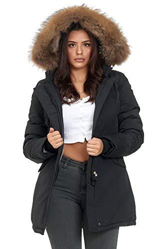 Elara chunkyrayan - parka invernale da donna in vera pelliccia black london xxl
